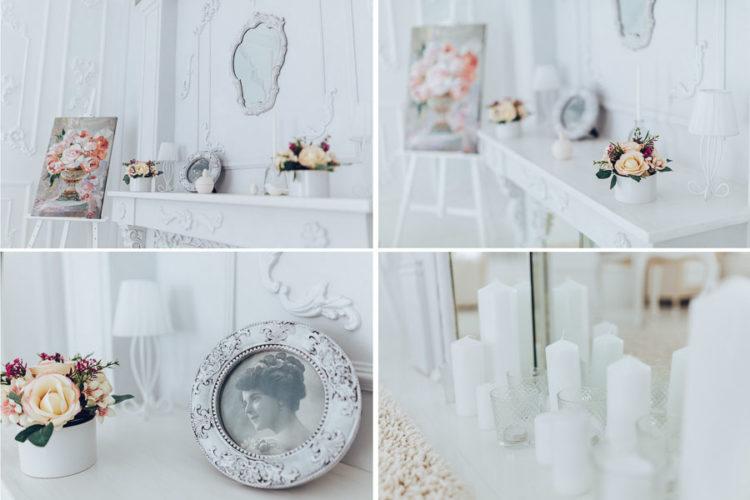 Зал Пентхаус, интерьеры фотостудии, спальная комната ( кровать ) в стиле Рококо, лепнина, белый глянцевый пол, зеркальный камин, гардеробная, гримерная, круглое окно, бра, распашные белые двери, профото оборудования Profoto, Интерьерная фотостудия Киев Rococo Studio ( Рококо )