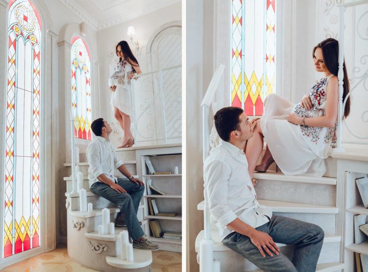 Фотосессия беременных Киев, Лав Cтори ( Love Story ), скмейная в фотостудии Рококо ( студийная )